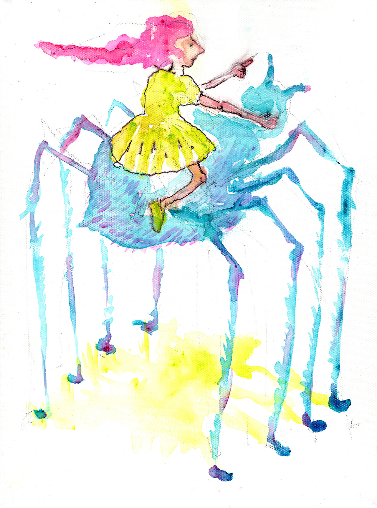 9/23/13 -  Sammie the Spider Rider .   It's spider season here in Seattle. Aren't they adorable little things?   Anyway, quick note. Tomorrow is my birthday. As such, I'll be giving away tomorrow's piece via my facebook page:    http://facebook.com/taylorwinderartwork.    Like that page and pay attention tomorrow for your chance to win it.   Buy today's piece here:  http://taylorwinder.bigcartel.com    Prints available here:  http://society6.com/taylorwinder