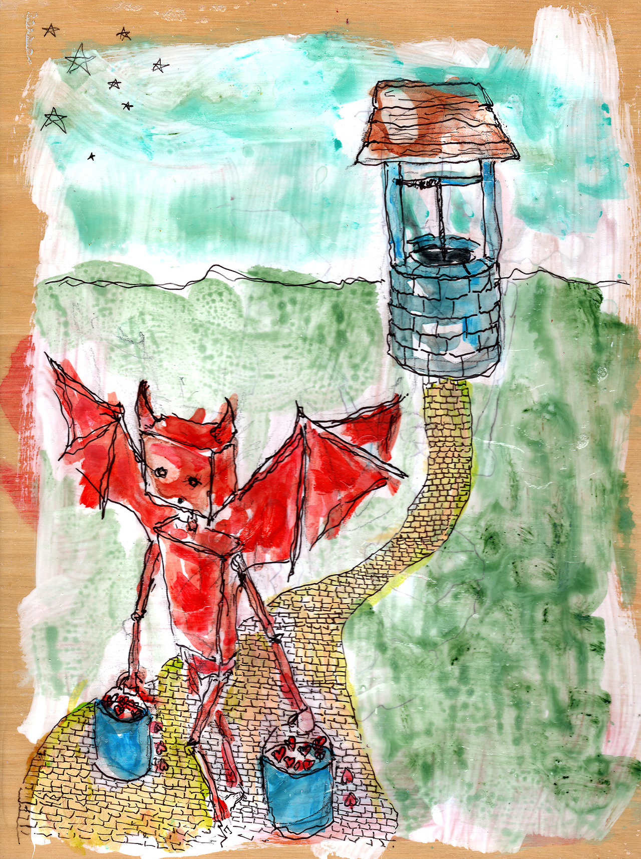 11/17/13 -  Devilbot Returns to a Familiar Well.    This is based on a really old sketch I came across today. Haven't painted good ole' Devilbot for a while. Figured it was about time.   Anyway, I've got about 13 days left to go on my kickstarter. If you're interested in owning a book containing all of my daily art pieces from this year please take a look! - http://www.kickstarter.com/projects/taylorwinder/the-art-book-of-the-year