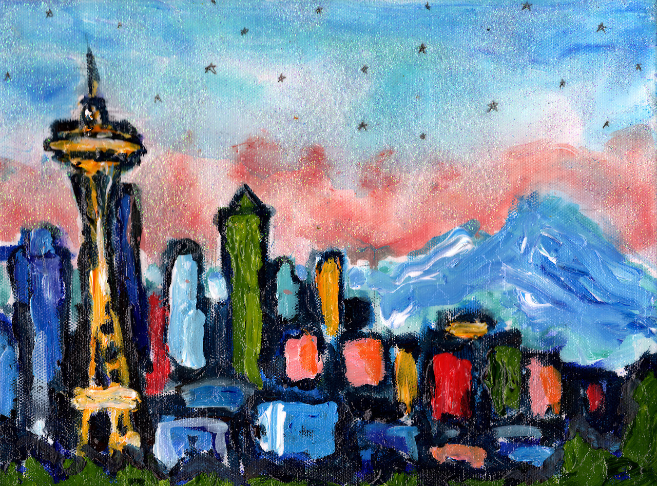 "12/3/13 -  Seattle By Starlight.    This is another of my kickstarter awards. Yes, my parents backed my kickstarter. This is their reward piece. My mother requested a ""landscape without any boobs in it"". So, here you go, mom. I promise that's Mt. Rainier and not a pair of hooters.    Prints available here:  http://society6.com/taylorwinder"