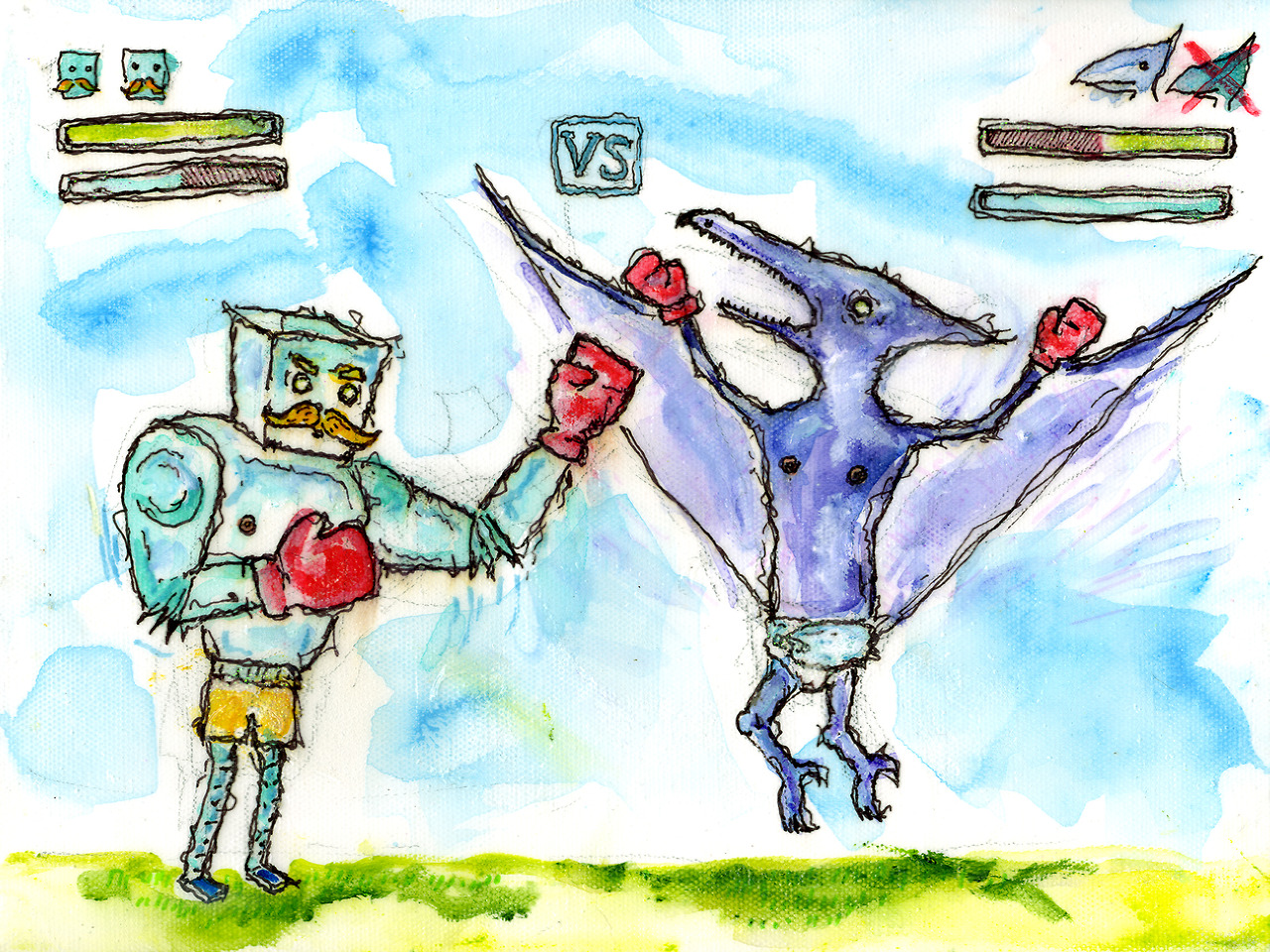 "12/7/13 -  Punchin' Pugilistbot Versus Baby Terry.    ""I want a robot fighting a dinosaur."" Oh, okay, Thomas. Thanks for backing the kickstarter! And yes, that's a pterodactyl in diapers. Because, well. Just because."