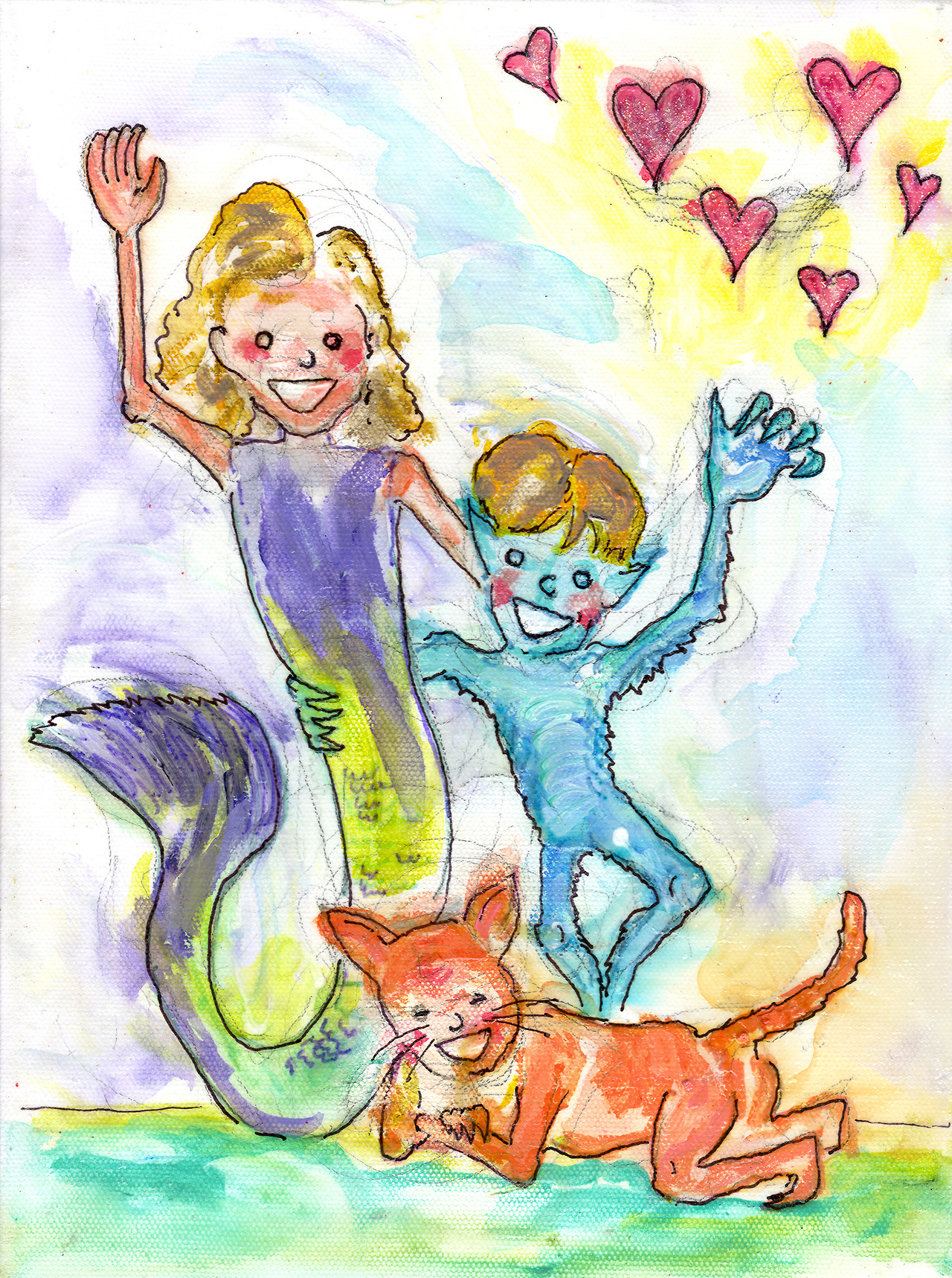 12/11/13 -  Rambunctious Rascals.    Another kickstarter reward piece. My good friend Kendra wanted an untraditional portrait of her lovely children:Gracelyn, Abraham, and William. She gave me some great descriptions of them to work with and, well, here's the result! I hope you like it, Kendra! Thanks for backing the kickstarter!