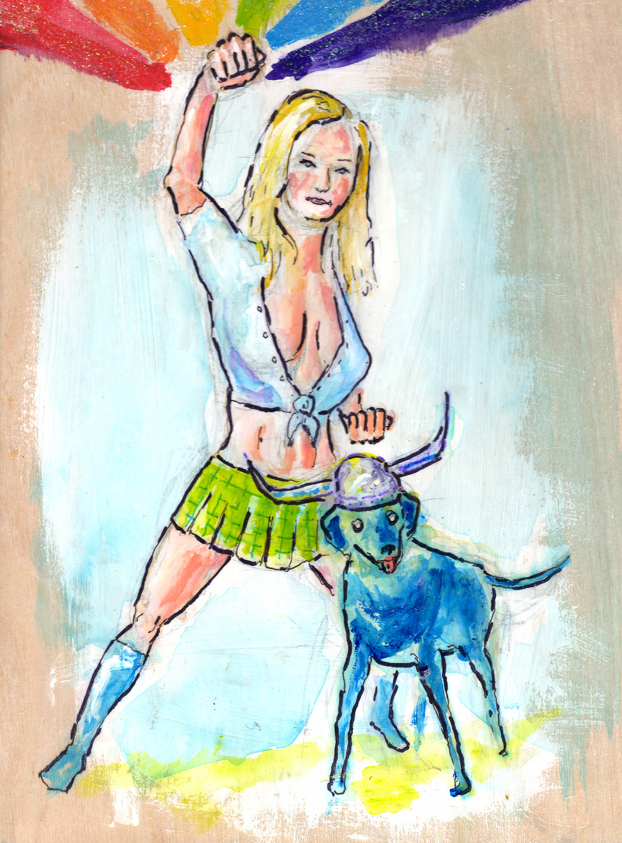 12/13/13 - Lolly Popper & Kona the Barbarian! This is another kickstarter reward piece. My good friend Kelli wanted Sally as a super heroine and a super dog. So, here ya have it. The rainbow might or might not have been Sally's idea.