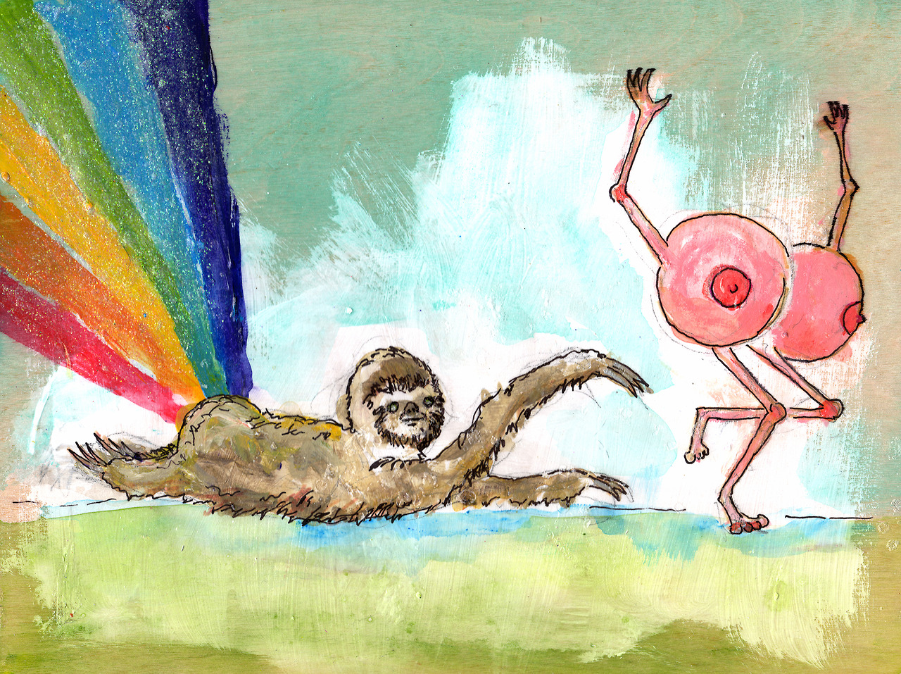 12/17/13 -  Down Low, Too Slow.    I'm shedding a solitary tear because this is probably the last pair of boobs I'll draw in 2013. Unless of course someone wants me to draw a pair as part of a kickstarter reward. Anyway, have a rainbow-farting sloth chasing after a pair of boobs. Happy Tuesday!    Prints! -  http://society6.com/taylorwinder