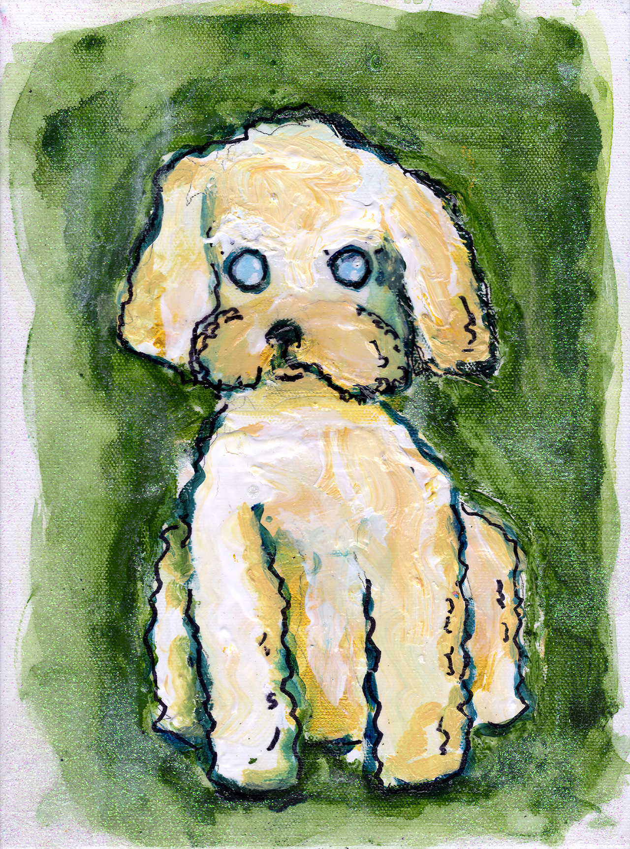 12/21/13 -  Squiggly   Rylee!    This is a kickstarter piece! My cousin Christine and her husband Chris wanted me to paint my Aunt Molly's dog, Rylee. They're a dog-loving folk, that side of the family. Even though apparently Chris and Christine tried to kill their dogs today by leaving a bunch of fudge lying around. Rookies. Anyway, I hope you guys all like the piece and thanks for backing my kickstarter! Happy holidays!
