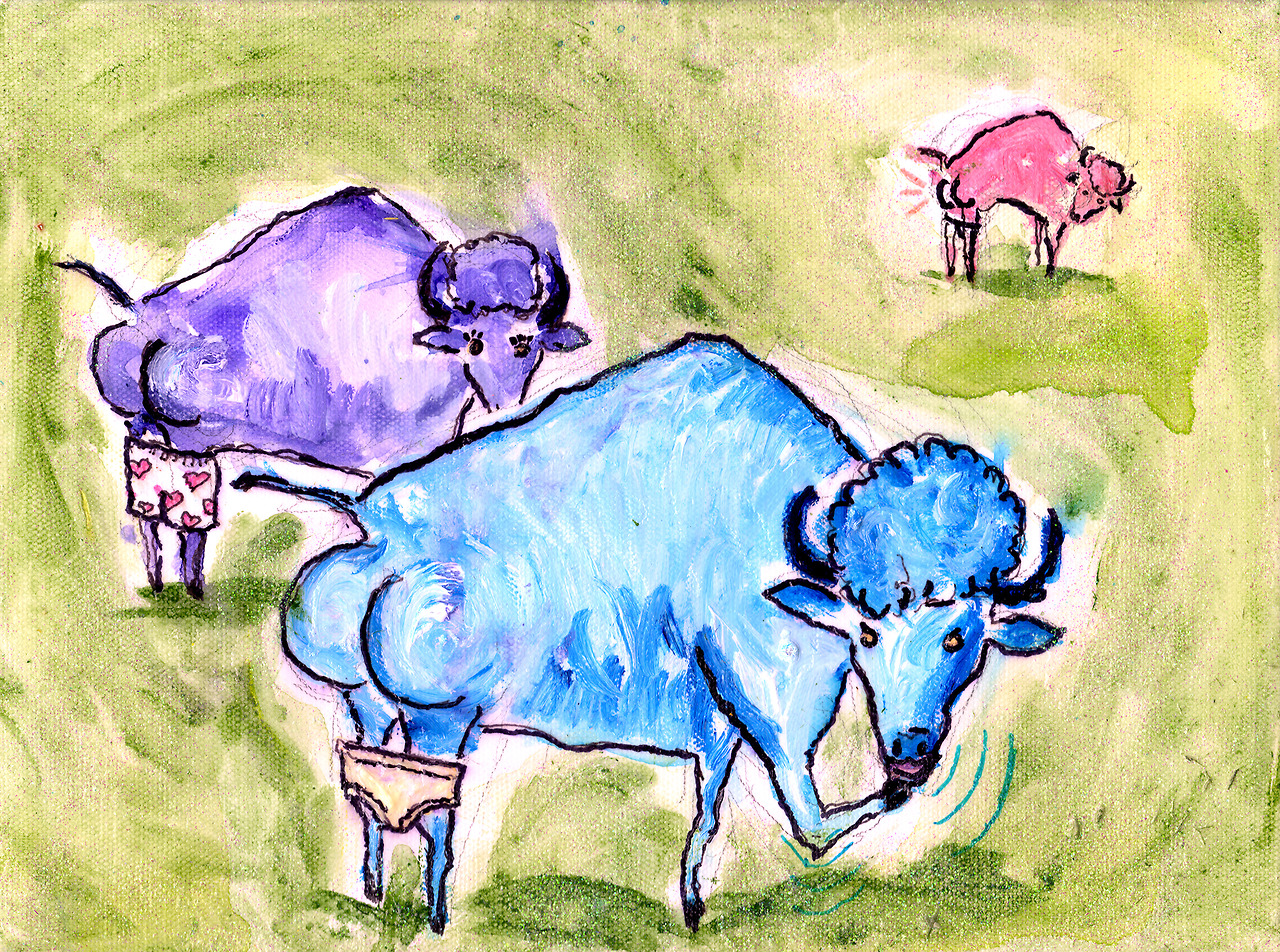 12/20/13 -  Where the Buttalo Roam.    This one's another kickstarter reward piece. Happy birthday, Tiffany! From Dan and Parker (who apparently has a bit of trouble saying the word buffalo). I hope you like it!