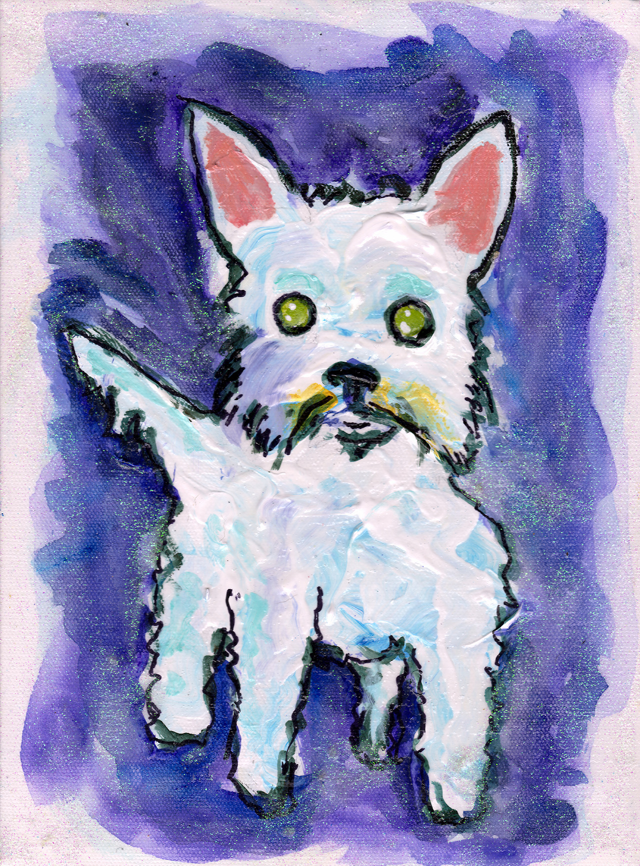 12/22/13 - Annie the Midwestie! Christine and Chris pledged another kickstarter piece. This time they wanted me to paint her parents' (my aunt Cathy and uncle Dan's) dog, Annie. She's a rambunctious one. Oh, and near as I can tell, none of them have fed any dogs fudge today. So it's a good day. Happy holidays! I hope you all like the piece!