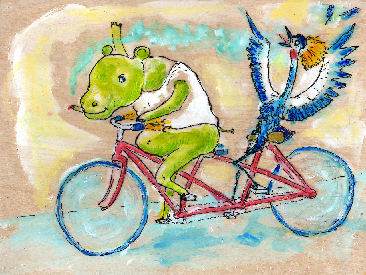 12/23/13 -  An Interspecies Pantsless Joyride.    This is a kickstarter piece for my good friends Keith and Jessie. They've probably supported my art more than any other folks in existence. And they requested a hippopotamus and a crane on a tandem bike in somewhat subdued colors. Well, there you have it. Hopefully you guys like it. Thanks again for backing the kickstarter!