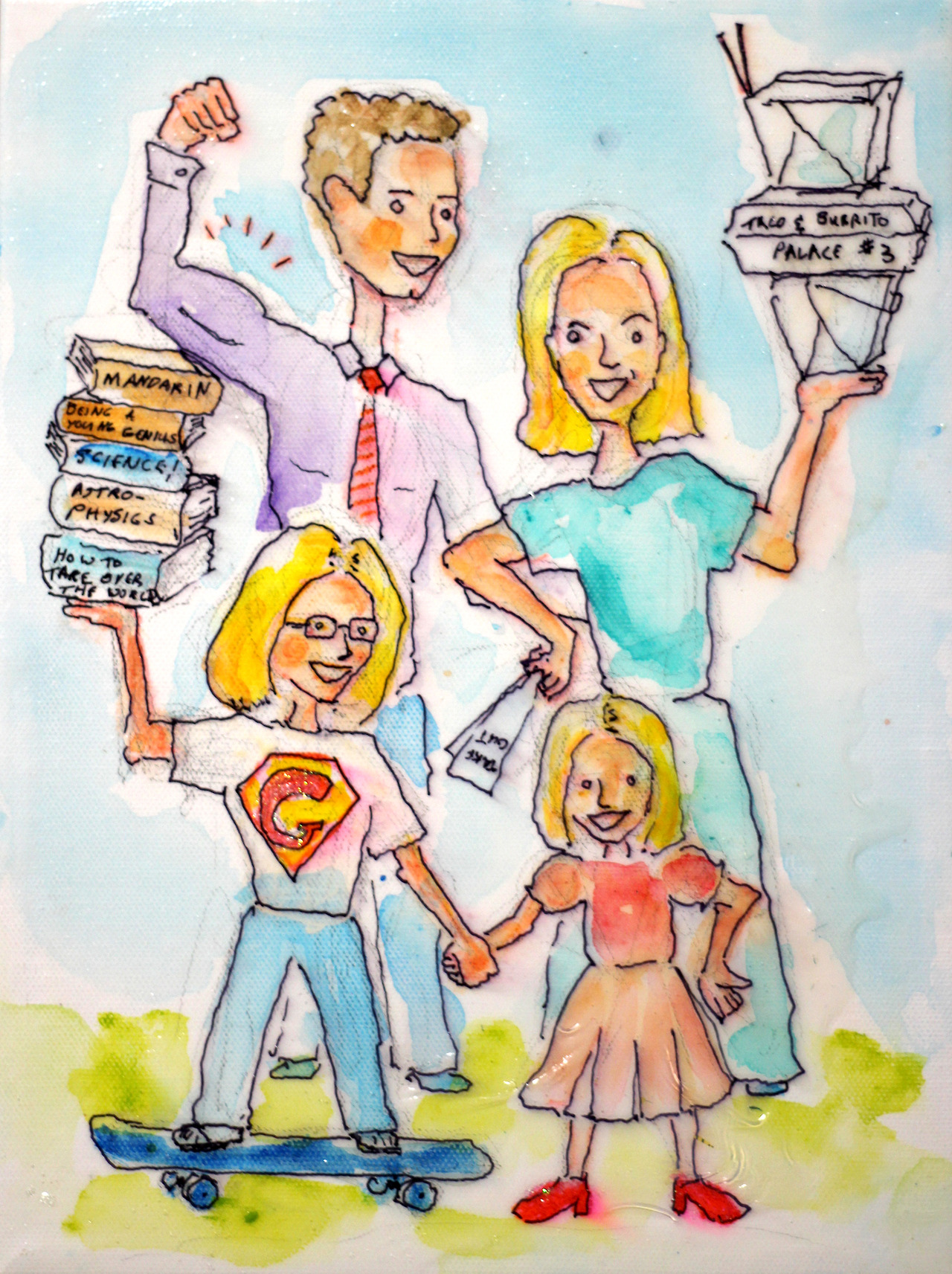 12/24/13 -  Chicago Super Family!    This is a kickstarter piece. Galeta wanted her family represented as a super duper family. I hope I captured all of the very specific requests. Thank you, Carolyn and Pat for backing the kickstarter! Merry Xmas!