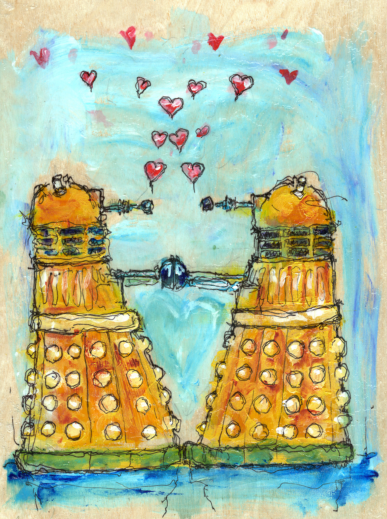11/23/13 -  Exterminating Love.    Today's the 50th Anniversary of Doctor Who. I grew up watching the show with my dad. The things I remember most about it were the pledge drives. Damn they were annoying. But, yeah. I also remember the Daleks. They creeped me out as a kid. Now I realize they're just misunderstood.   I've got 7 days left on my kickstarter. Please, please take a look at it when you get a chance.    http://www.kickstarter.com/projects/taylorwinder/the-art-book-of-the-year
