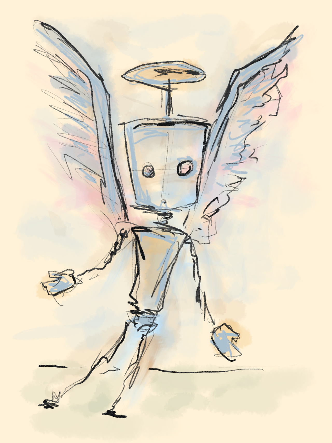 Godbot in Flight. I'm still playing around with the viability of the ipad as a creation tool. There's a lot I like about it. A few things I wish were a bit different.