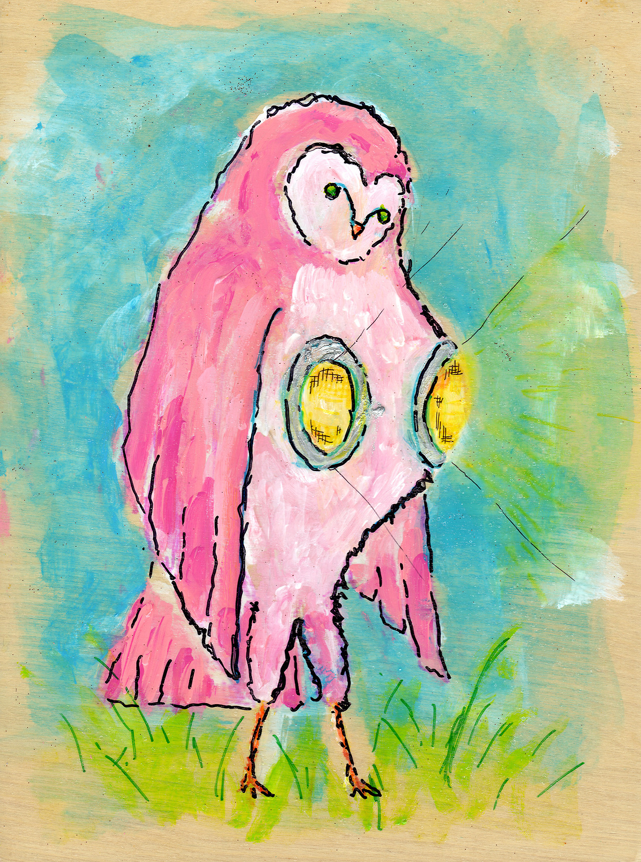 8/27/13 -  Headlights on a Pink Hooter .   Well it's Tuesday, after all. At least I didn't strictly paint boobs this time.    Buy it here:  http://taylorwinder.bigcartel.com    Prints of it here:  http://society6.com/taylorwinder