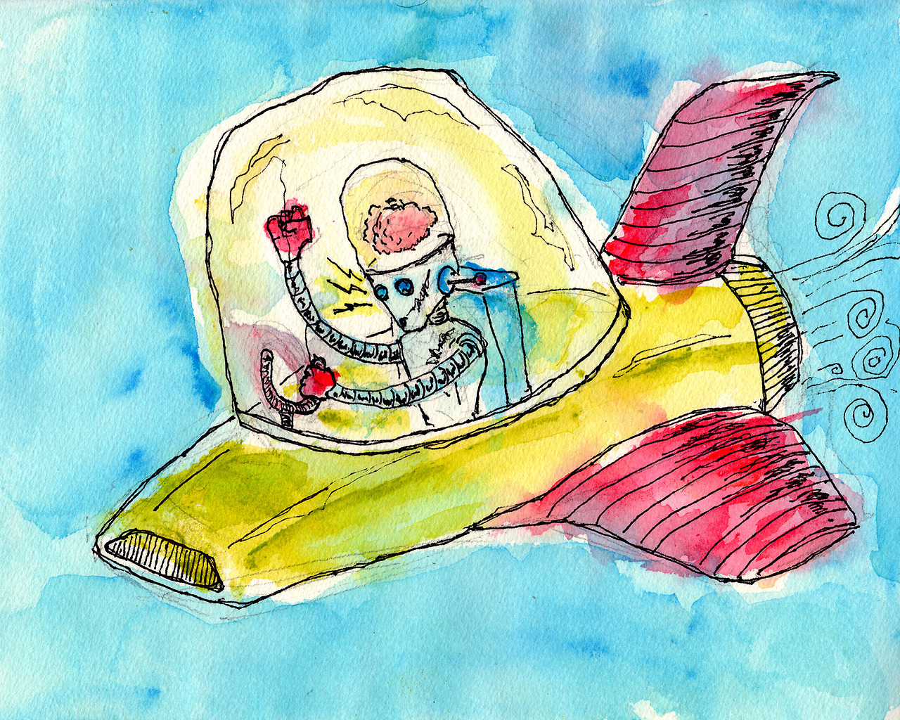 "5/31/13 -  Brain on a Plane.    Brain on a spaceship didn't rhyme.   10"" x 8"" Acrylic paint, sharpie, pencil on watercolor paper.   Available to purchase here:  http://taylorwinder.bigcartel.com    Prints available here:  http://society6.com/taylorwinder"