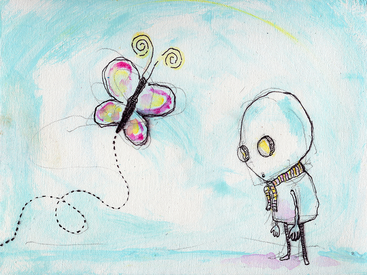"5/26/13 -  Mervin and the Flutterby .   Some days it's easier just to watch life float past you.   12"" x 9"" Acrylic paint, sharpie, pencil, polyurethane on canvas.   Available to purchase here:  http://taylorwinder.bigcartel.com    Prints available here:  http://society6.com/taylorwinder"