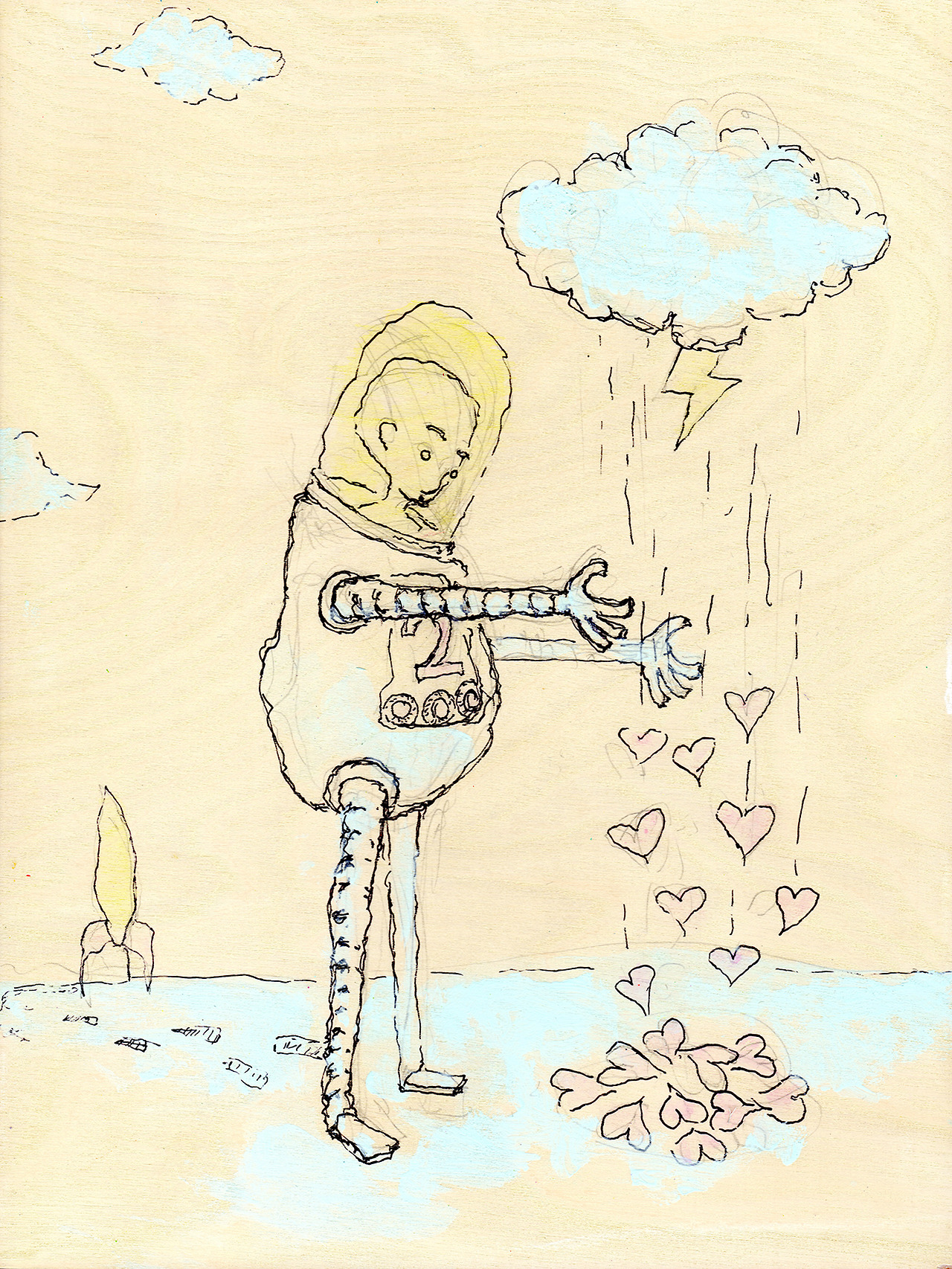 "5/16/15 - The Too-Safe Safe Suit 2. Ultimate protection. 9"" x 12"" Acrylic paint, sharpie, pencil on birch panel. Available to purchase here: http://taylorwinder.bigcartel.com Prints available here: http://society6.com/taylorwinder"