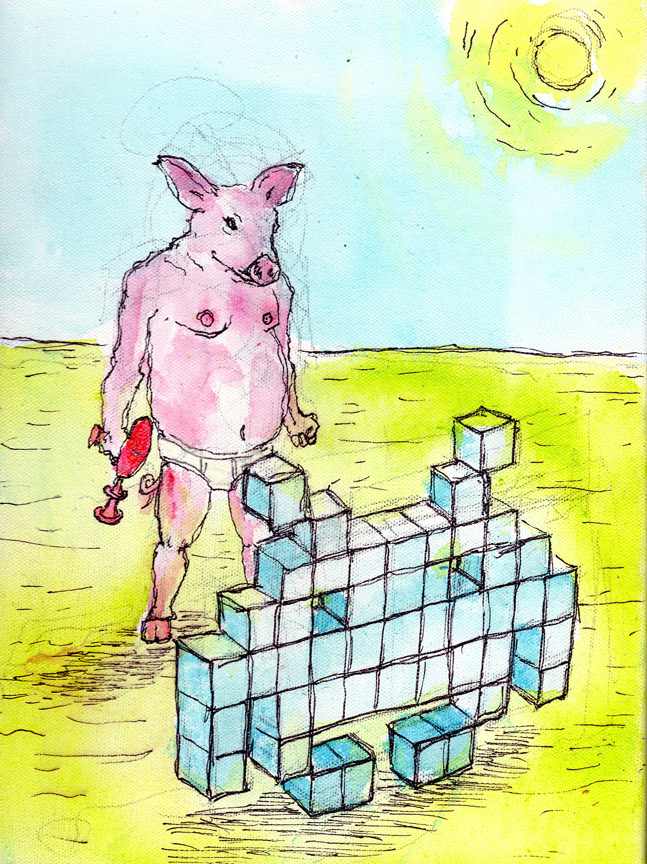 "4/23/13 -  A Porcine Predicament.    This made more sense in my head.   9"" x12"" Acrylic paint, sharpie, pencil, polyurethane on canvas.   Available to purchase here:  http://taylorwinder.bigcartel.com    Prints available here:  http://society6.com/taylorwinder"