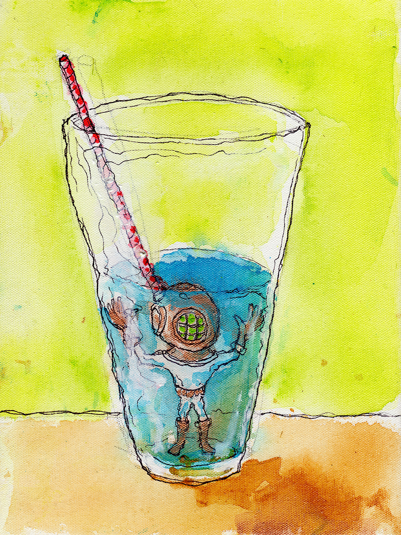 "4/16/13 -  Lil Diver in a Half-Full, Half-Empty Situation .   Taking a break from the video game action.   9"" x 12"" Acrylic paint, sharpie, pencil, polyurethane on canvas.   Available to purchase here:  http://taylorwinder.bigcartel.com    Prints available here:  http://society6.com/taylorwinder"