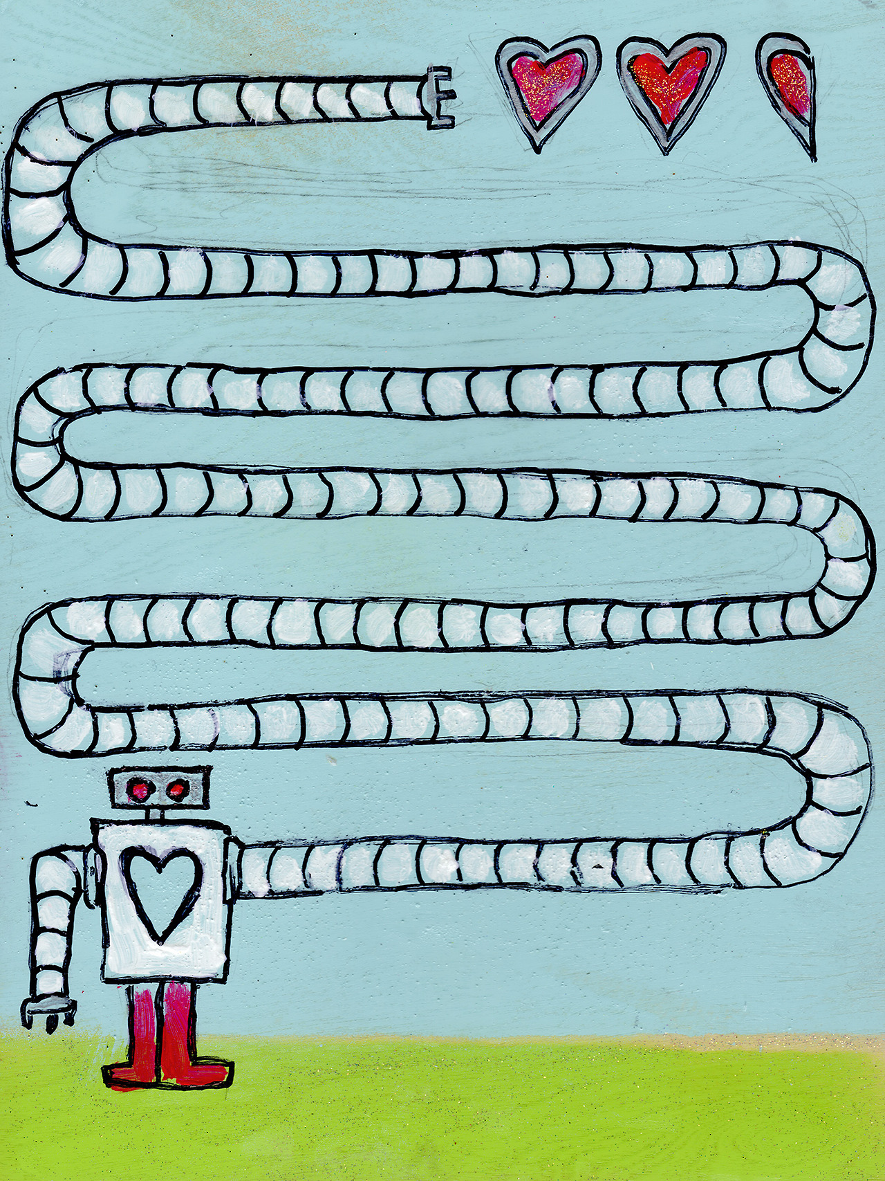 "4/8/13 -  Stealing a Love Refill .   Some days you just want to make something a bit whimsical.   9"" x 12"" Acrylic paint, sharpie, pencil, polyurethane, spray paint, glitter on wood panel.    Available to purchase here:    http://taylorwinder.bigcartel.com   SOLD.   Prints available here:  http://society6.com/taylorwinder"