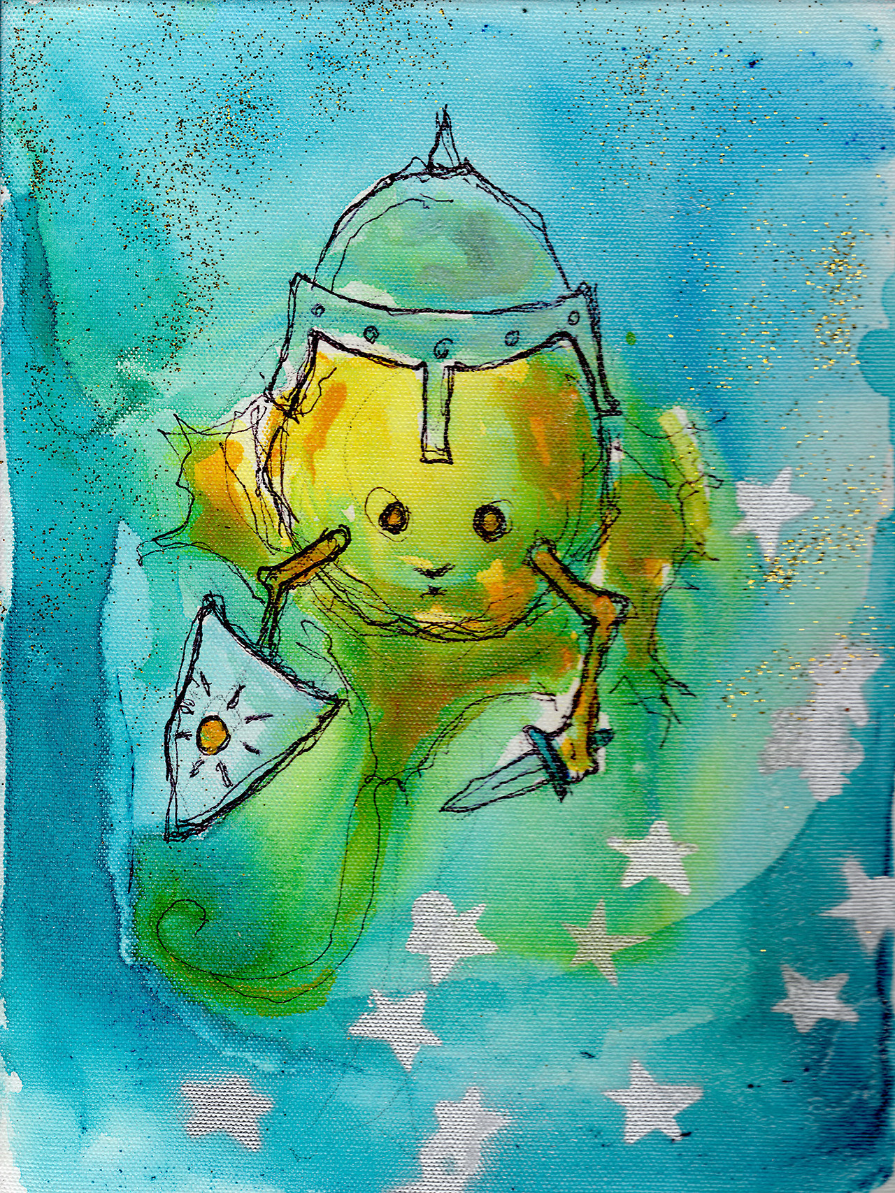 "4/7/13 -  Knight Sun .   The sun is a cranky, surly thing. Well, at least here in Seattle he is.   9"" x 12"" Acrylic paint, sharpie, pencil, polyurethane, glitter on canvas.    Available to purchase here:    http://taylorwinder.bigcartel.com        Prints available here:    http://society6.com/taylorwinder"
