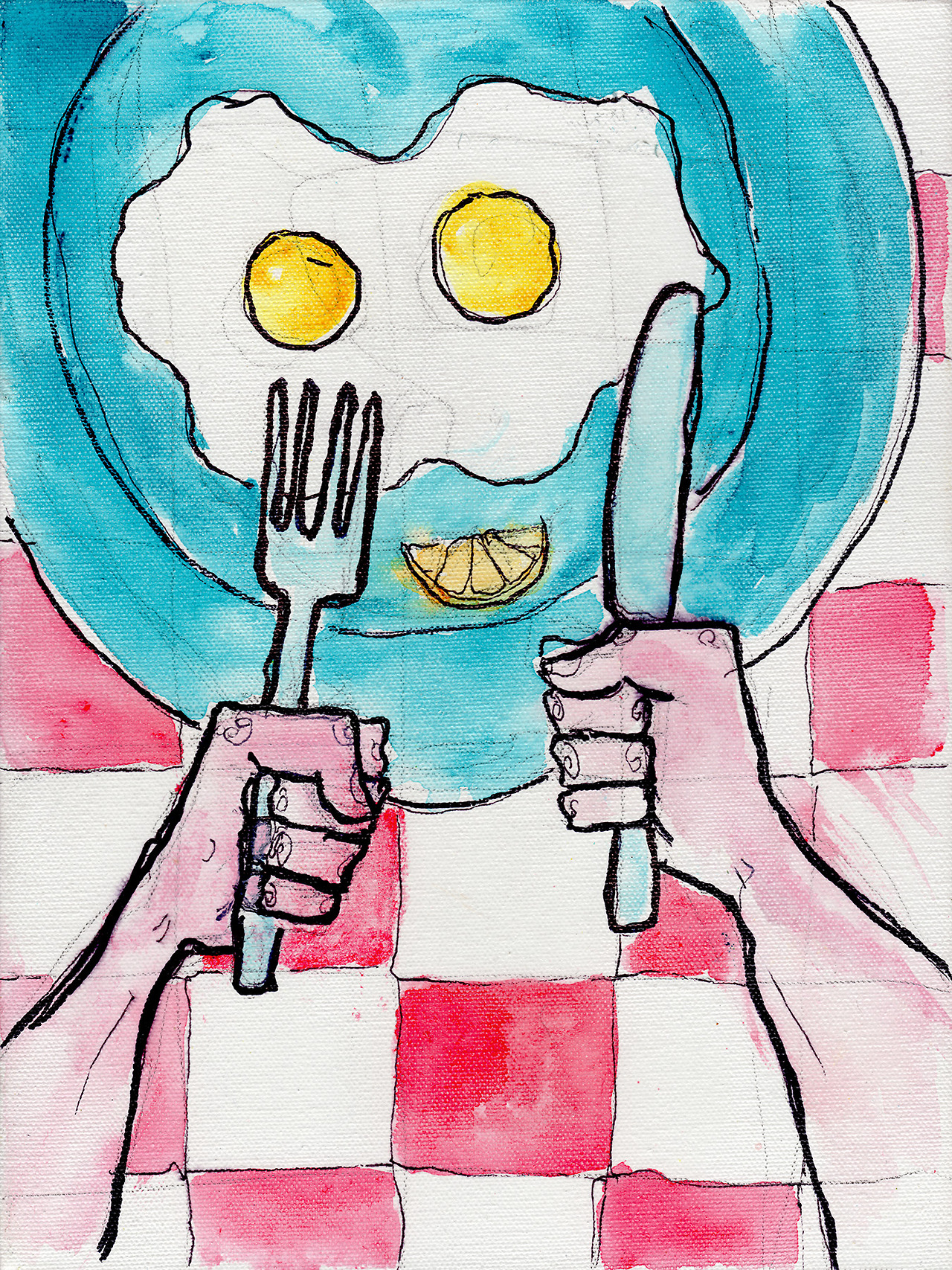 "4/4/13 -  FPS Bruncher .   Some days you just want a good plate of eggs.   9"" x 12"" Acrylic paint, sharpie, pencil, polyurethane on canvas.   Available to purchase here:  http://taylorwinder.bigcartel.com    Prints available here:  http://society6.com/taylorwinder"