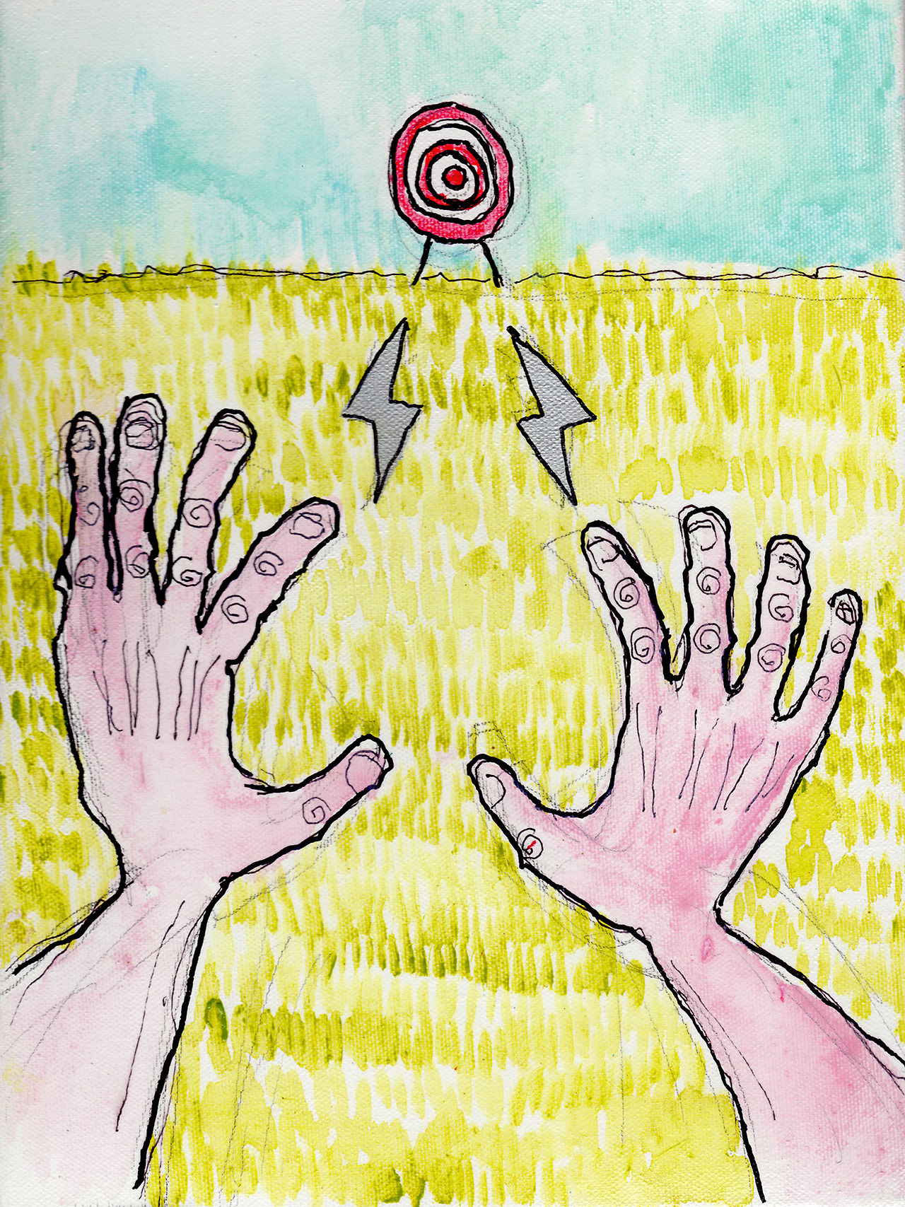 "4/2/13 -  FPS LARPer.     I needed to mix it up a little.   9"" x 12"" Acrylic paint, sharpie, pencil, polyurethane on canvas.   Available to purchase here:  http://taylorwinder.bigcartel.com    Prints available here:  http://society6.com/taylorwinder"