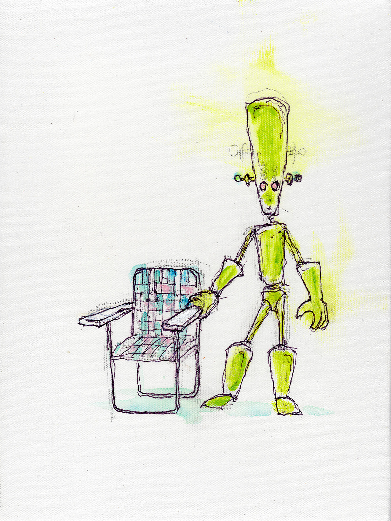 "3/19/13 -  Green is a Cowboy, On a Steel Horse He Rides .     Taste the rainbow.     9"" x 12""     Acrylic paint, sharpie, pencil, polyurethane on canvas.     Available to purchase here:      http://taylorwinder.bigcartel.com      Prints available here:      http://society6.com/taylorwinder"