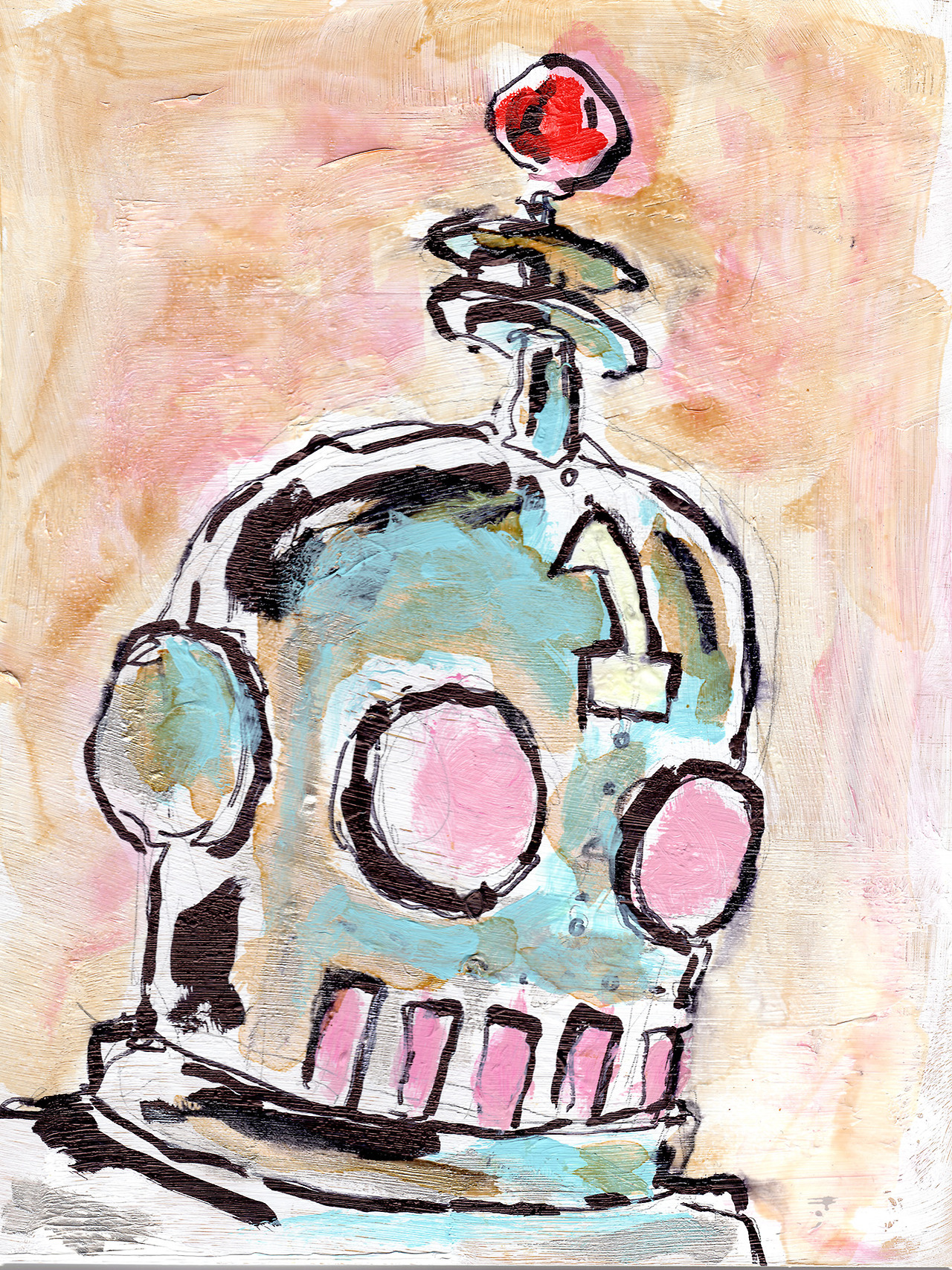 "3/10/13 - Hey That Looks Just Like That One Robot!  Daylight savings makes my brainbox hurt. 9"" x 12"" Acrylic paint, shellac, sharpie, pencil on birch panel. Available to purchase here: http://taylorwinder.bigcartel.com SOLD. Prints available here: http://society6.com/taylorwinder"