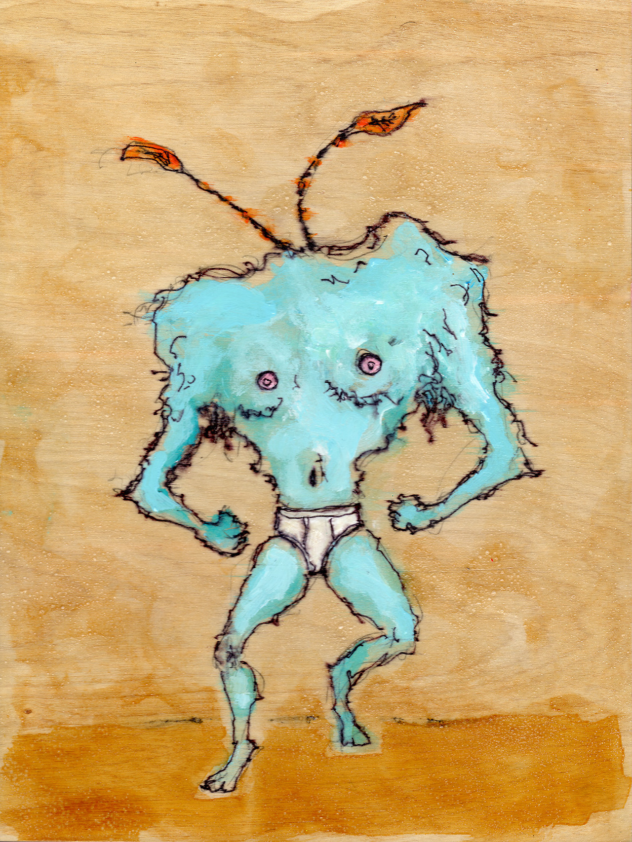"3/7/13 -  The Grump.     I did a variation of this piece for a friend's birthday. This one is shinier. And the underwear glows a bit more.    9"" x 12""   Acrylic paint, shellac, sharpie, pencil on birch panel.    Available to purchase here:    http://taylorwinder.bigcartel.com     Prints available here:    http://society6.com/taylorwinder"