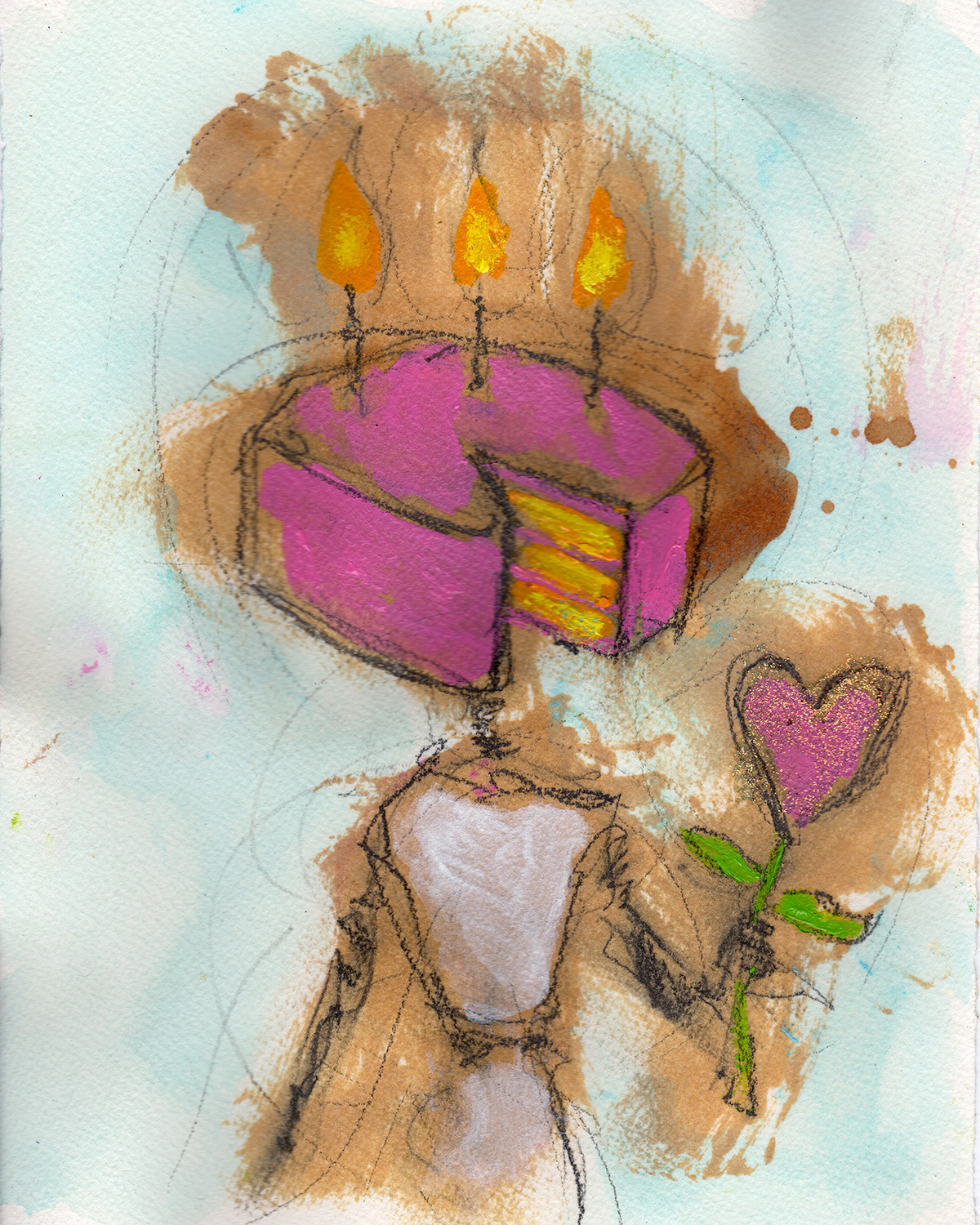 "2/26/13 - Birthdaybot and the Love Flower. My mother thinks most of what I make is pretty strange. She's getting this in the mail anyway. Happy birthday mom! Love ya! 8"" x 10"" Acrylic paint, shellac, marker, pencil, glitter on watercolor paper. This one isn't for sale."