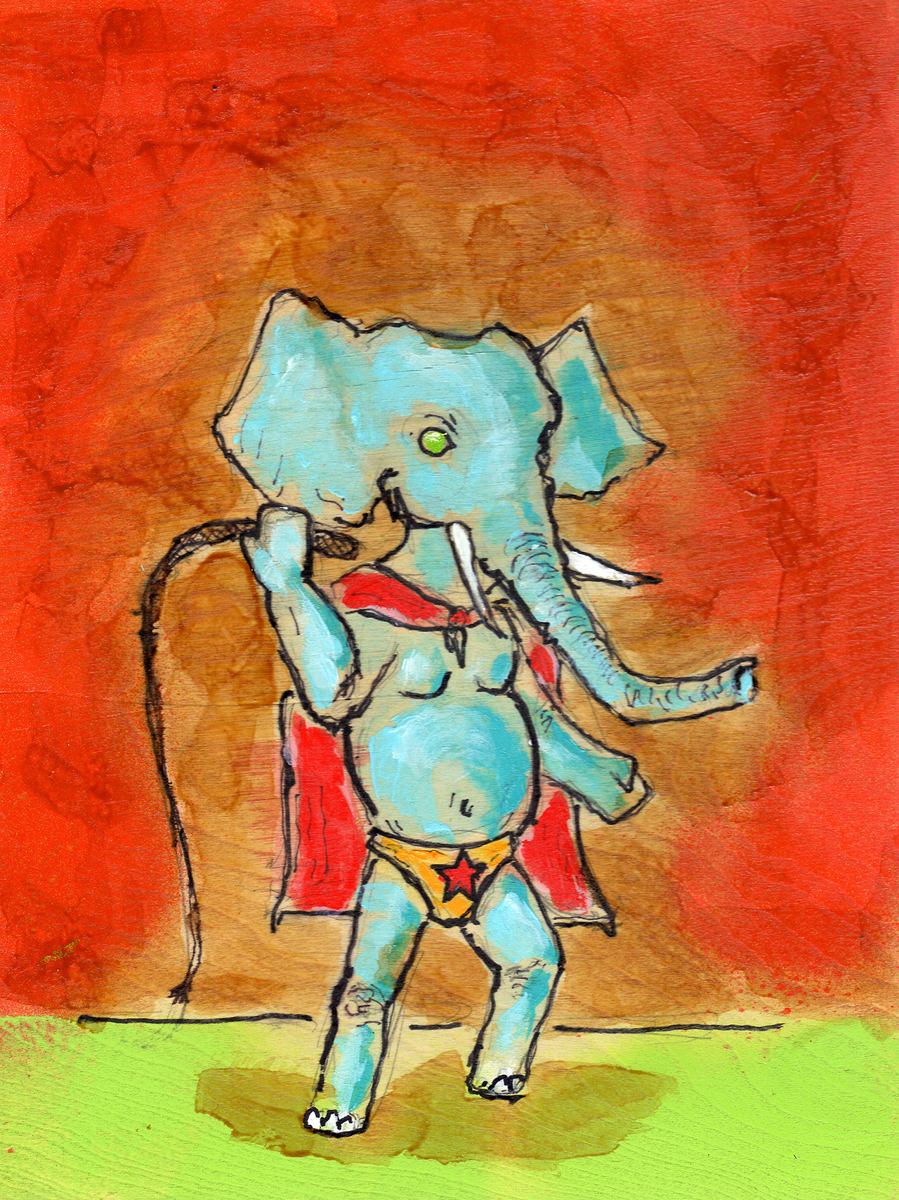 "2/24/13 -  Here Comes Snorkel!       Some days you just want to draw an elephant wearing a banana hammock.    9"" x 12""   Acrylic, shellac, marker, pencil, spray paint on wood panel.   Available for purchase."