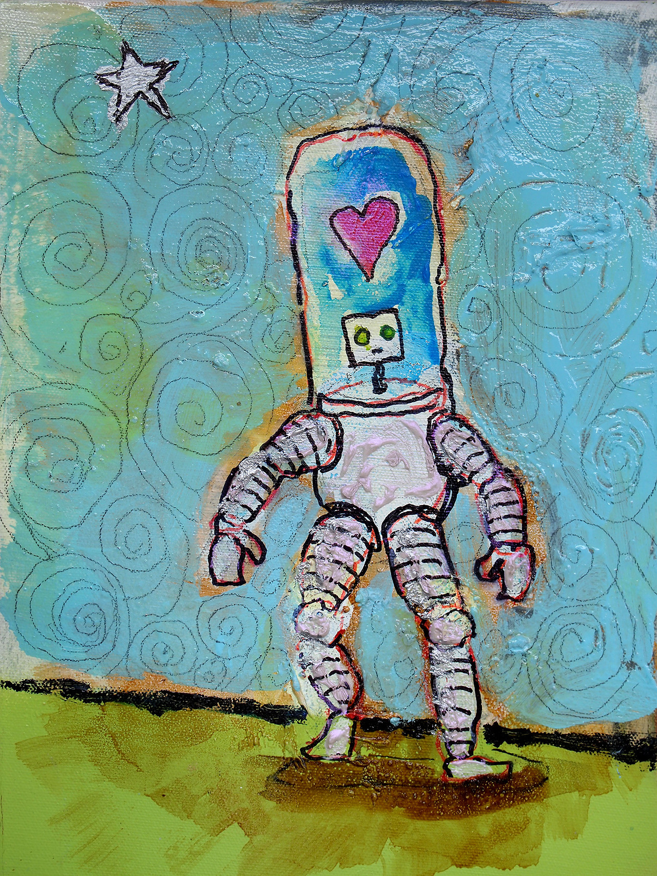 "2/23/13 -  Loverbot 2.0 and the Silver Star       This one is pretty chunky and shiny. Some of the chunk comes from another, bad painting underneath it all.    9"" x 12""   acrylic, shellac, marker, pencil, clear spray paint on canvas.     Available for purchase.   SOLD.   Prints available here:  http://society6.com/taylorwinder"