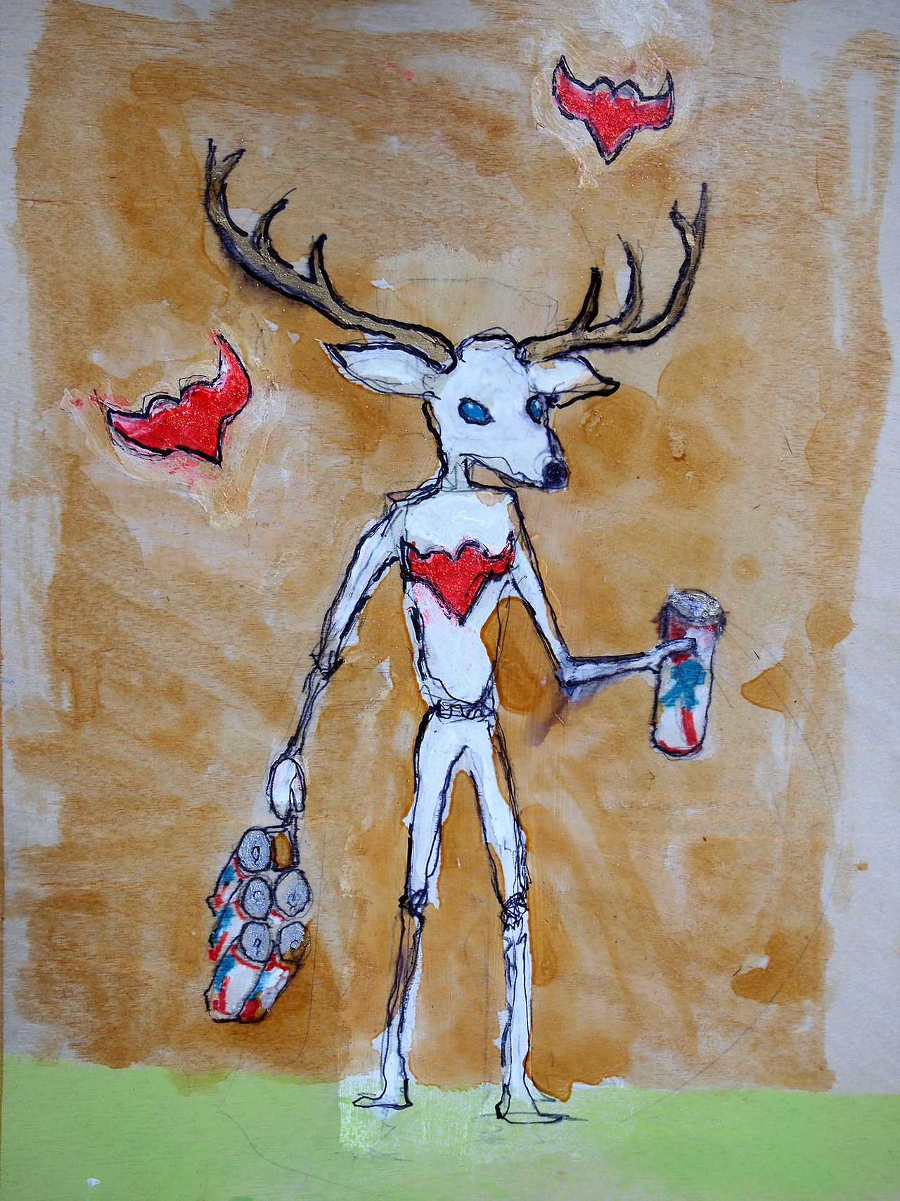"2/21/13  Deer Eyes, Bull Hearts, Canned Booze.       A while back a friend of mine gave me an unfinished piece of her artwork and told me to finish it, which I did. That is, if by finishing it she meant make it a whole, whole lot worse. Anyway, this is sort of a tribute to that piece   9"" x 12""   acrylic, shellac, marker, pencil, glow-in-the-dark paint, clear spray paint on wood panel."