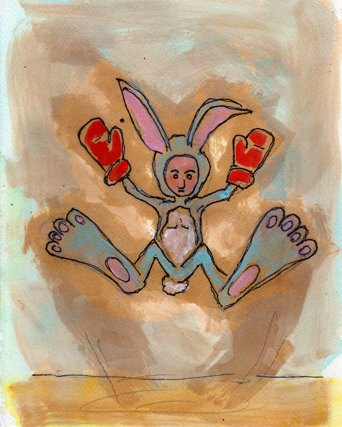 "2/5/13. Er, yeah. Another day of silliness. Thumper Does the Thump Jump 8"" x 10"" acrylic, shellac, marker, pencil, clear spray paint on watercolor paper."