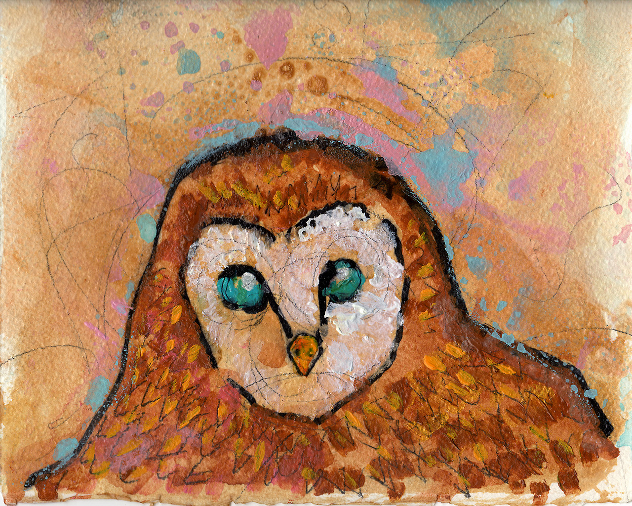 """2/2/2013. I really, really want bacon and eggs right about now. Anyway, here's art. Owl Up in Your Business. 10"""" x 8"""" acrylic, shellac, marker, pencil, clear spray paint on watercolor paper."""