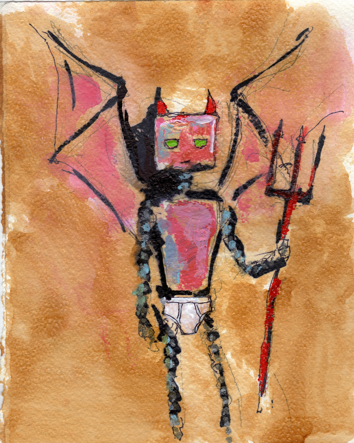 "1/21/13    Devilbot, Briefly.   8"" x 10""   acrylic, shellac, marker, pencil on watercolor paper.    Available to purchase at:    http://taylorwinder.bigcartel.com   SOLD   Prints available at:  http://society6.com/taylorwinder"