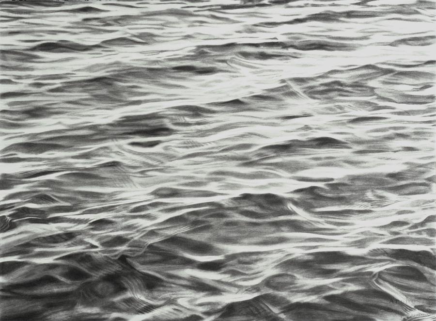 """One (aqua), 1999, charcoal on paper, 22.5 x 30"""""""