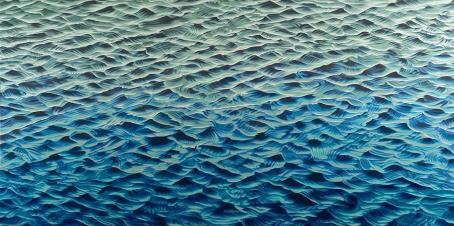 "Twenty (bubble), 2005, oil on linen, 38 x 78"""