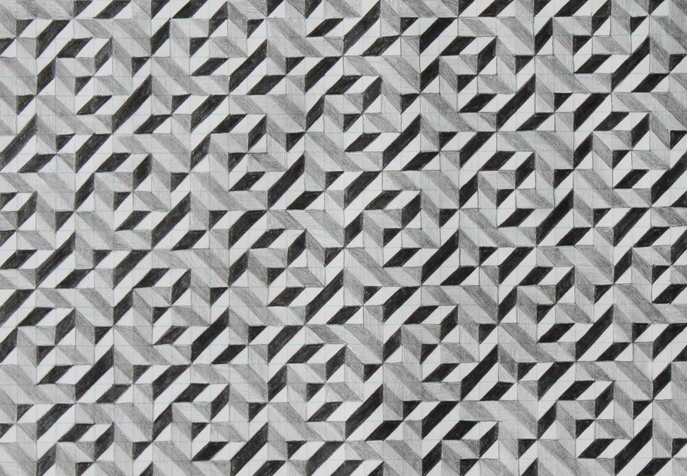 five, 2007, graphite on paper, 6.25 x 9 inches