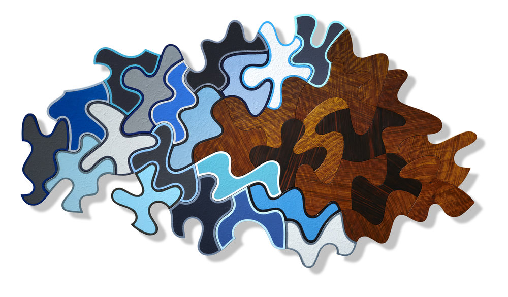 Superstition (137), 1995-2012 ,enamel, 44x60 inches 19 pieces  Ockham's Razor (149), 1996, rosewood veneer, 36x50 inches, 13 pieces