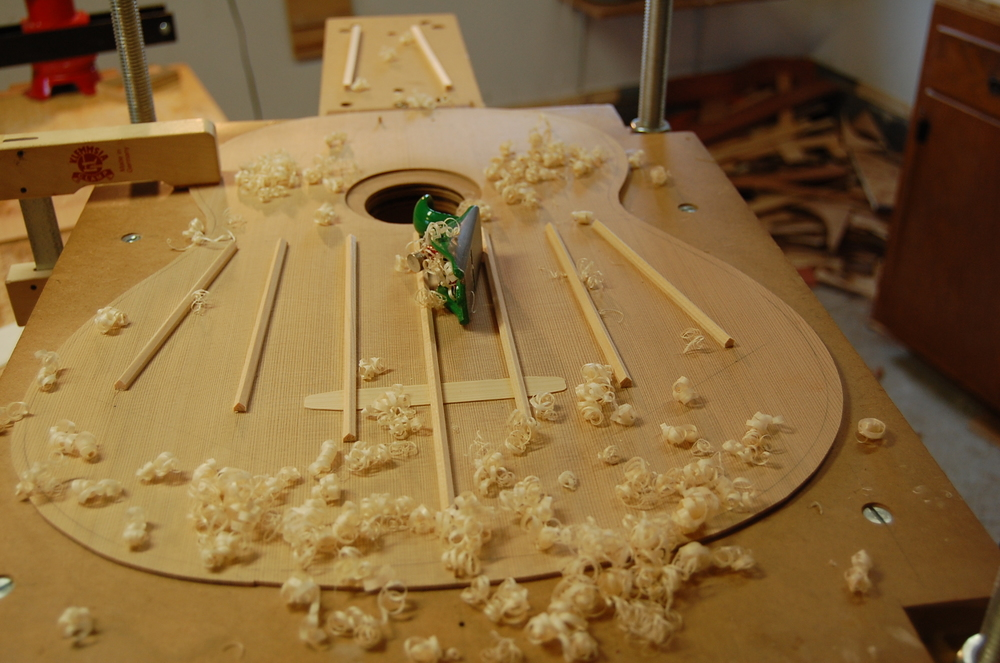 Starting to carve the fan braces.