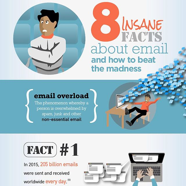 Our #infographic for #mailzinger demonstrates 8 insane facts about #email. Learn how to beat the madness: www.mammothinfographics.com/8-insane-facts-about-email