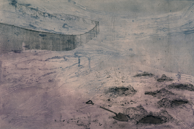 "A Buried Retrieval,  collograph, etching, chine colle, 2014, 30""x40"""