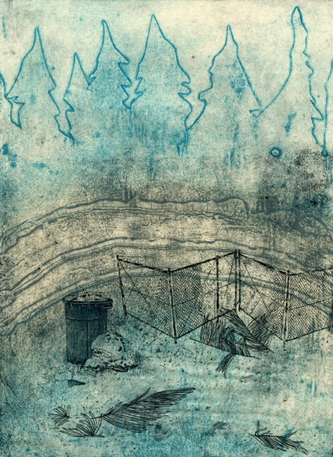 "Secret Spaces: Way Out Back,  collograph, etching, and chine colle, 2013, 15""x22"""
