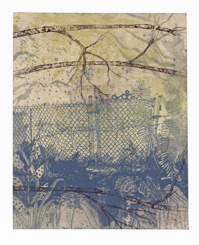 "Day Dream Deja Vu,  collograph, etching, chine colle, 2014, 15""x22"""
