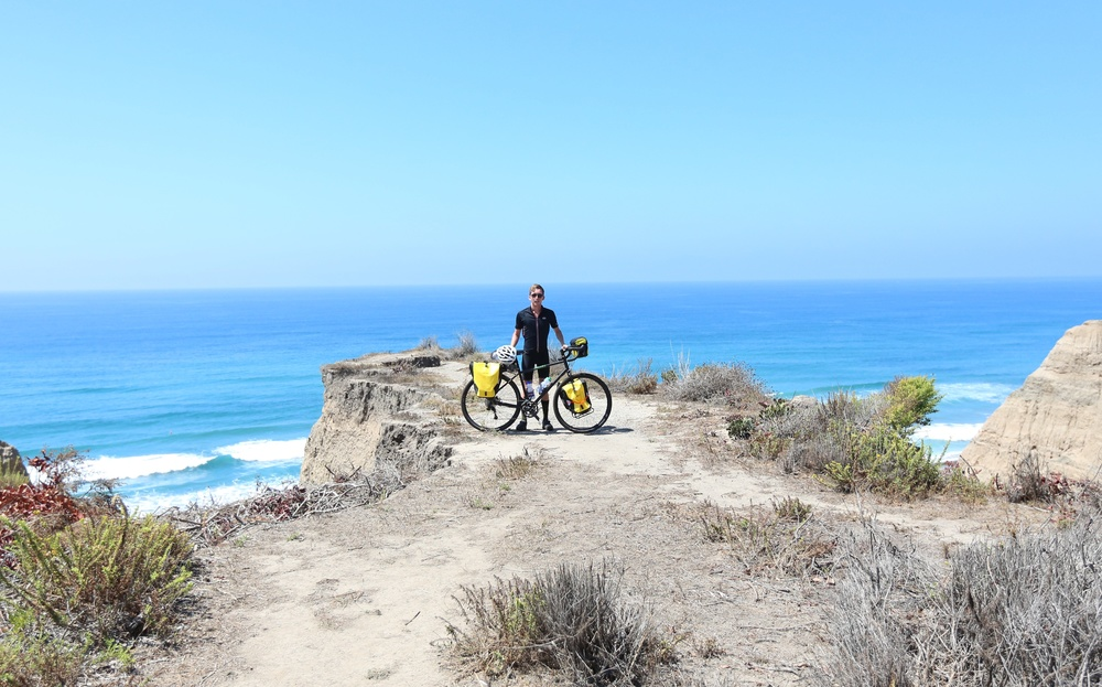 Testing out the whole setup on a training ride to Los Pulgas Road in San Diego before the trip. I had to get the spokes salty in the Pacific one last time before we conquered the Atlantic.
