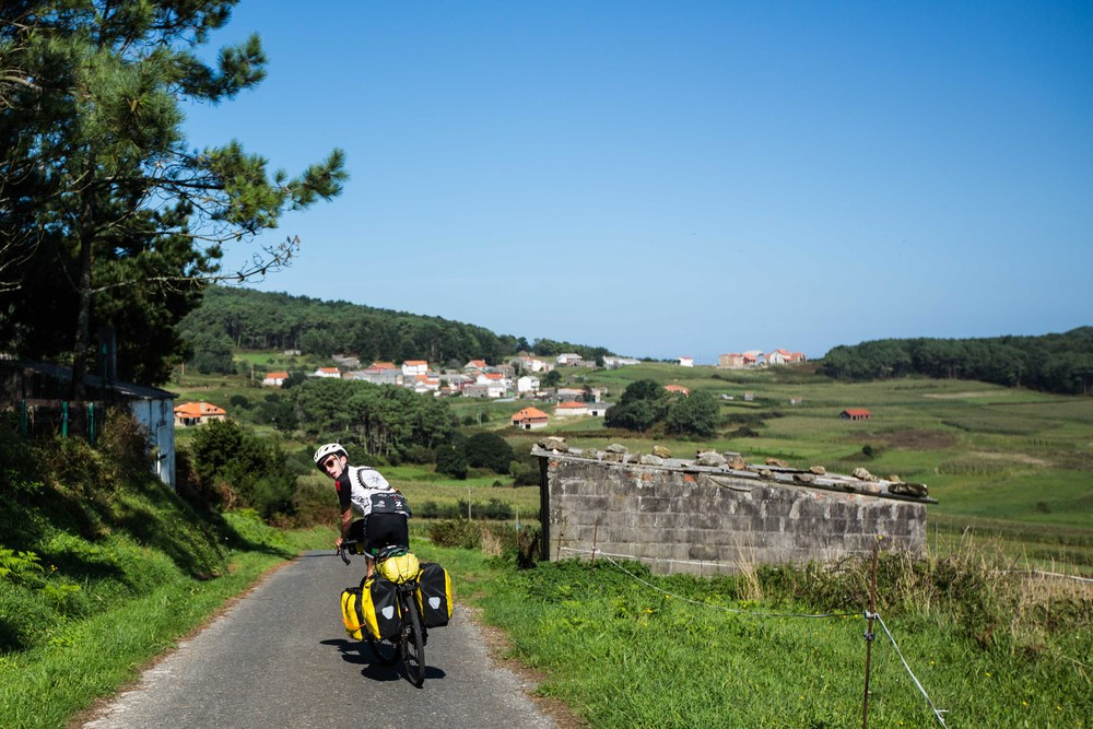 Ryan, riding through the little beautiful towns that adorned the Costa da Morte.