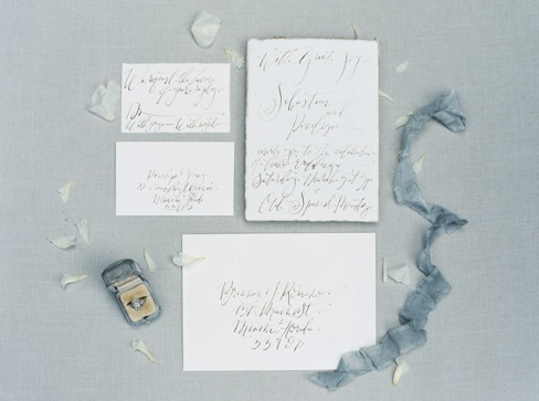 Elleson Events | Ancient Spanish Monastery Miami FL | Wedding Inspiration | Simply Sarah Photography | Fig & Flourish Calligraphy | Trumpet & Horn | Silk & Willow Ribbon