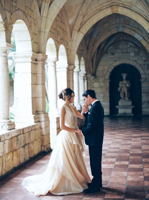 Elleson Events | Ancient Spanish Monastery Miami FL | Wedding Inspiration | Simply Sarah Photography | Chaviano Couture Wedding Dress