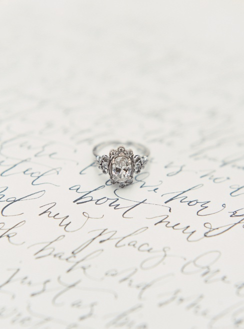 Elleson Events | Ancient Spanish Monastery Miami FL | Wedding Inspiration | Simply Sarah Photography | Fig & Flourish Calligraphy | Trumpet & Horn Vintage Ring