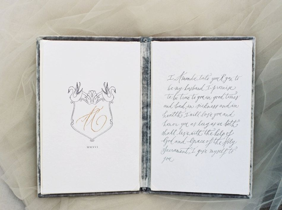 Custom vows and vow book by  Spurle Gul Studio  and  Wedding Story Writer .  Photo by  Simply Sarah Photography