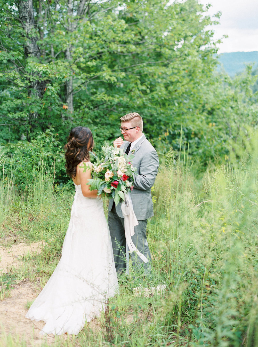 Bride and Groom first look in North Carolina